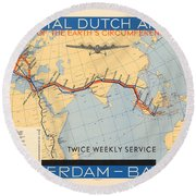 Klm Royal Dutch Airlines - Amsterdam To Batavia - Map Of The Air Route - Historical Map Round Beach Towel