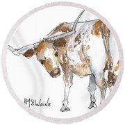 Kmcelwaine Logo Longhorn, Ollie, Texas Longhorn Art Print,watercolor Cow Painting, Whimsical, Round Beach Towel