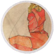Kneeling Female In Orange-red Dress Round Beach Towel