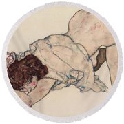 Kneeling Girl, Resting On Both Elbows Round Beach Towel