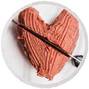 Knife Cutting Heart Shape Chocolate On Plate Round Beach Towel