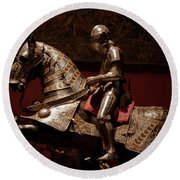 Knight And Horse In Armor Round Beach Towel