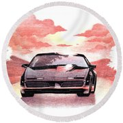 Knight Rider Round Beach Towel by Gina Dsgn