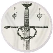 Knight S Sword With Double Edged Blade Round Beach Towel