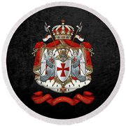 Knights Templar - Coat Of Arms Over Black Velvet Round Beach Towel