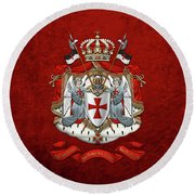 Knights Templar - Coat Of Arms Over Red Velvet Round Beach Towel