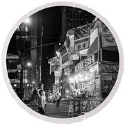 Round Beach Towel featuring the photograph Knish, New York City  -17831-17832-bw by John Bald