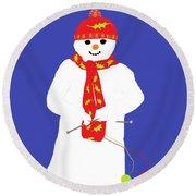 Knitting Snowman Round Beach Towel by Barbara Moignard