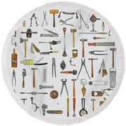 Knolled Tools Round Beach Towel