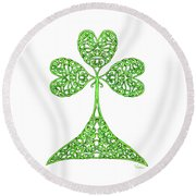Knotted Shamrock Round Beach Towel