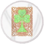 Knotted Shamrock With Knotted Background Round Beach Towel by Lise Winne