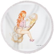 Round Beach Towel featuring the mixed media Know How by TortureLord Art