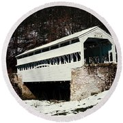 Knox Covered Bridge Historical Place Round Beach Towel