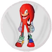 Knuckles Sketch Round Beach Towel