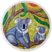 Koala Sunrise Round Beach Towel