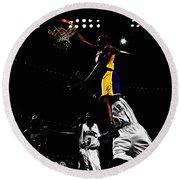 Kobe Bryant On Top Of Dwight Howard Round Beach Towel by Brian Reaves