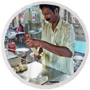 Round Beach Towel featuring the photograph Kochi Stall by Marion Galt