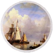 Koekkoek Hermanus Vessels At Anchor In Estuary With Fisherman Round Beach Towel