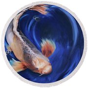 Round Beach Towel featuring the painting Koi by Donna Tuten
