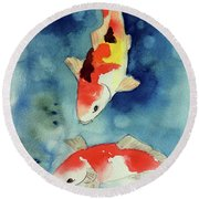 Koi Fish 3  Round Beach Towel