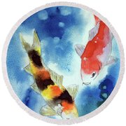 Koi Fish 4 Round Beach Towel