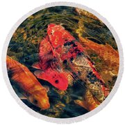 Koi Fish Fresco One Round Beach Towel