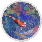 Koi Fish Pond Japanese Tea Garden  Round Beach Towel by Julianne Ososke