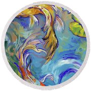 Koi Fish2 Round Beach Towel by Tim Gilliland