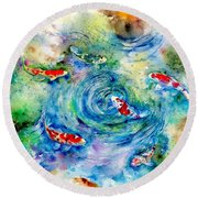 Koi Joy Round Beach Towel