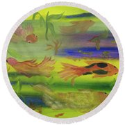 Koi Play Round Beach Towel by Meryl Goudey