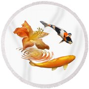 Koi With Azalea Ripples Round Beach Towel by Gill Billington