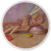 Round Beach Towel featuring the painting Koigu Yarn With Buttons by Nancy Lee Moran