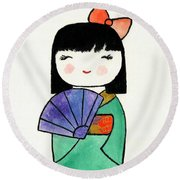 Kokeshi Doll Round Beach Towel