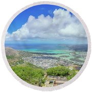 Kokohead Oahu, Hawaii Round Beach Towel