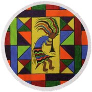 Kokopelli Dance Round Beach Towel by Susie WEBER