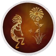 Kokopelli - Flower Serenade Round Beach Towel