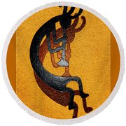 Kokopelli Golden Harvest Round Beach Towel by Vicki Pelham