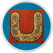 Kokopelli Horseshoe Round Beach Towel by Susie WEBER