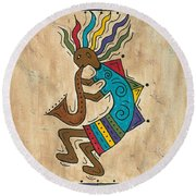 Kokopelli Sax Player Round Beach Towel by Susie WEBER