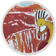 Kokopelli Spring Snow Round Beach Towel
