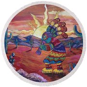 Kokopelli Sunset Round Beach Towel