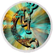Kokopelli Turquoise And Gold Round Beach Towel by Vicki Pelham