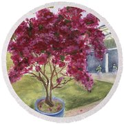 Round Beach Towel featuring the painting Kona Bougainvillea by Jamie Frier