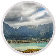 Ko'olau And H-3 In Color Round Beach Towel