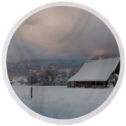 Kootenai Valley Barn Round Beach Towel