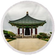 Round Beach Towel featuring the photograph Korean Bell Of Friendship by Ed Clark