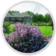 Round Beach Towel featuring the photograph Korean Lilacs And Sandhill Crane by Randy Rosenberger