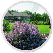 Korean Lilacs And Sandhill Crane Round Beach Towel by Randy Rosenberger