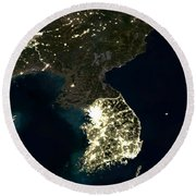 Korean Peninsula Round Beach Towel