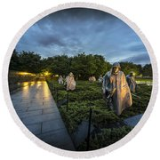Round Beach Towel featuring the photograph Korean War Memorial by David Morefield